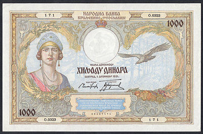 YUGOSLAVIA 1000 DINARA 1931 gEF Note  P 29  French Design Queen Marie Banknote