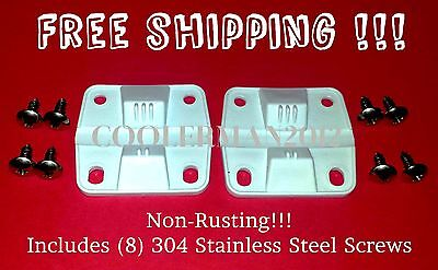 COLEMAN COOLER 2 PLASTIC HINGES 8 S.S. SCREWS 6262-1141 REPLACEMENT SS Stainless