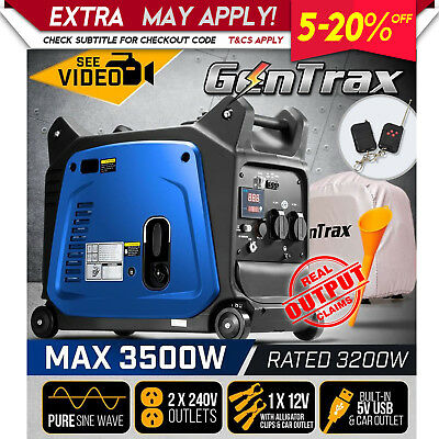 NEW GenTrax Rated 3.2kVA Max 3.5KW Pure Sine Inverter Generator Portable Petrol