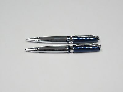Cross AT0511-5 Sydney Blue Lacquer Chrome Ballpoint Pen and 0.7mm Pencil Set