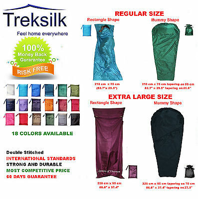 TREKSILK Regular - Mummy - X Large Single Silk Sleeping Bag Liner  Sleep Sack