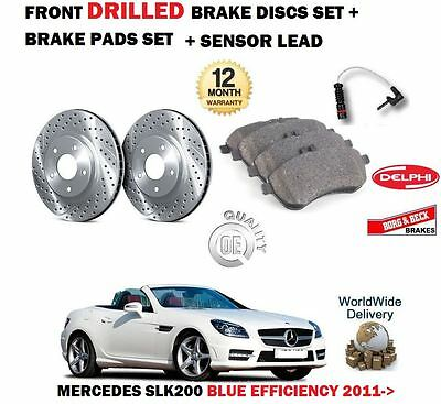 For Mercedes Slk200 Blue Efficiency 2011-> Front Drilled Brake Discs + Pad Kit