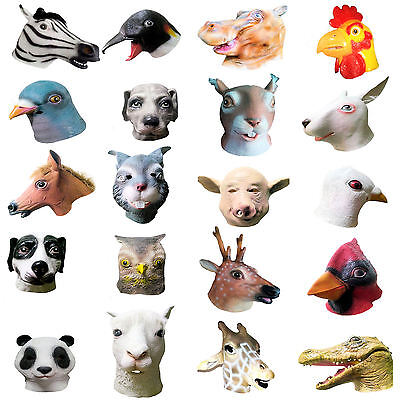 Animal Head Latex Masks Fancy Dress Party Animal Kingdom Rubber Overhead Mask
