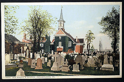 1900's PHOSTINT DETROIT POST CARD OLD SWEDES CHURCH PHILA PA VG CONDITION dp2