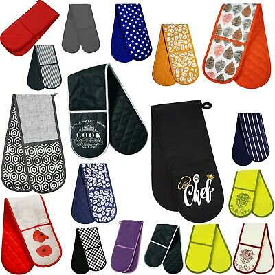 Amazing New Double/Single Oven Glove 100% Cotton Insulated Home Kitchen UK Stock