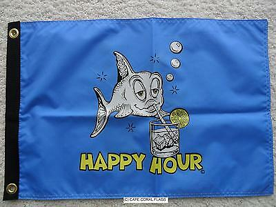 "12""x18"" Happy Hour Flag Dbl Sided Nylon Boat/motorcycle Blue Flag Made In U.s.a."