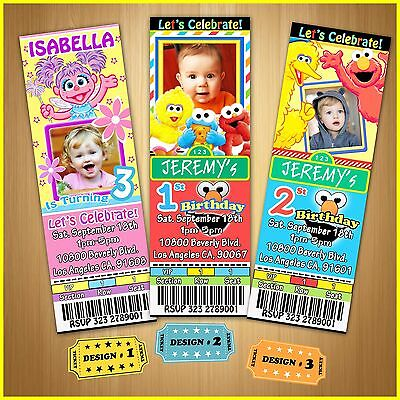 12 Printed Custom photo Elmo/Abby/Sesame Street birthday Ticket Invitations card