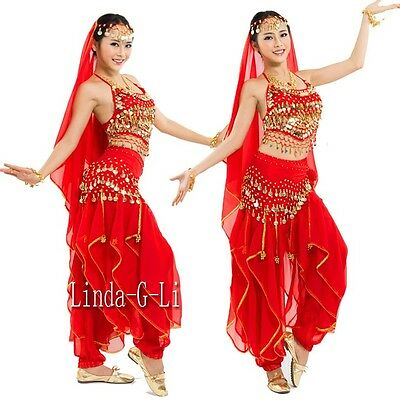 Belly Dance Costume Set 4 Pics Top+ Pants + Hip Scarf & Head Scarf with Coins