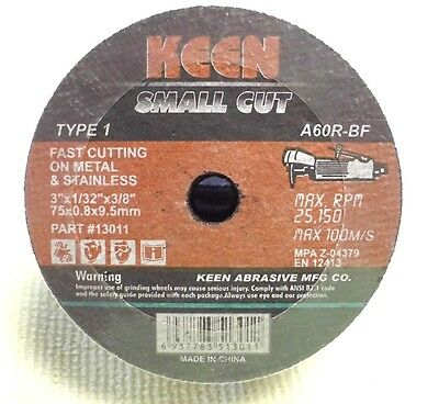 """KEEN 3"""" x 1/32"""" x 3/8"""" T1 High Speed Cut-Off Wheels for Metal & Stainless 50pc"""