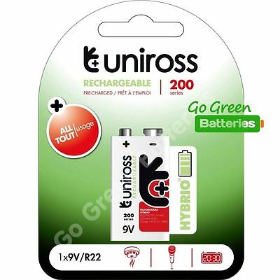 1 x Uniross Hybrio 9V 200 mAh NiMH Rechargeable Battery, Stay Charged 9 Volt PP3
