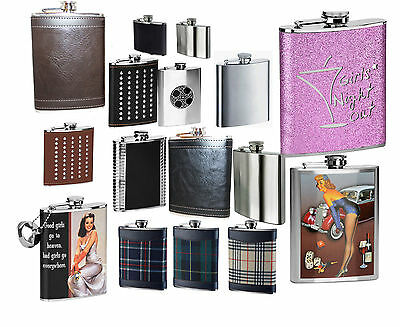 Hip Flask Stainless Steel Leather Effect Tartan & Various Designs/Colours New UK