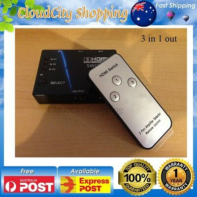 AU 3 Way HDMI Port Switch Switcher Splitter Box 1080p Full HD with Remote
