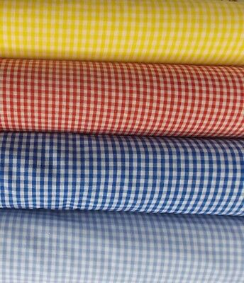 PATCHWORK CHECK NEW 1/16 1/8 1/2  SEW Gingham Fabric Material Dress Poly Cotton