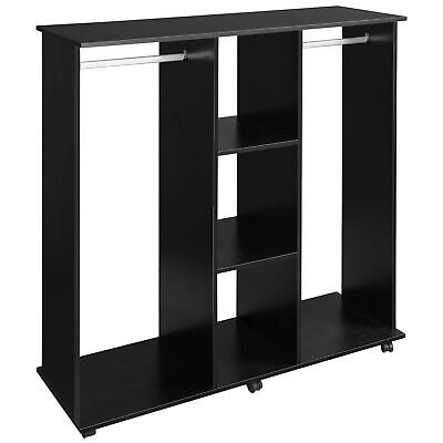 HOMCOM Mobile Double Open Wardrobe w/ Clothes Hanging Rail Colthing Black