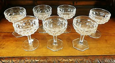 Fostoria American Crystal  6 Champagne Sherbet  4.5 oz Glasses Hex Ft  H 4 3/4""