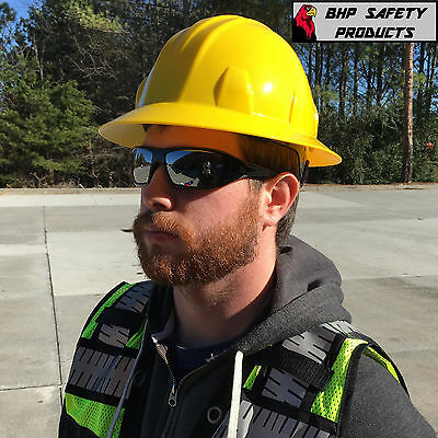 Safety Full Brim Hard Hat Yellow With 4 Point Ratchet Suspension Pyramex Hp24130