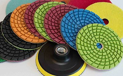 Diamond Polishing Pads 4 inch Wet/Dry 8 PC. Set &Backer Marble Granite Concrete