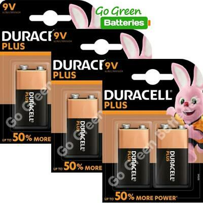 6 x Duracell 9V PP3 Plus Power Batteries, Smoke Alarms (LR22, MN1604, 6LR61)