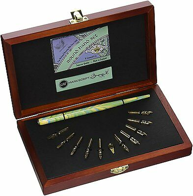 Manuscript Round Hand Wooden Box Set Deluxe Calligraphy Dip Pen & Nibs 4601