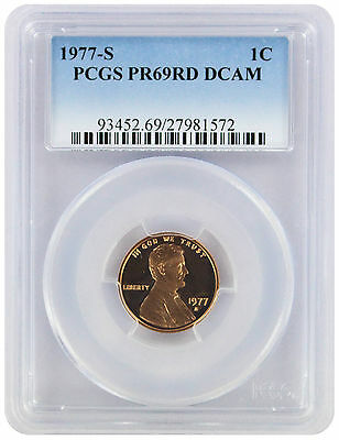 1977-S Lincoln Cent PR69RD DCAM PCGS Proof 69 Red Deep Cameo
