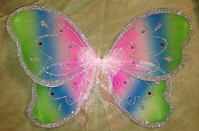 "18"" LARGE PINK Rainbow Wall Hanging BUTTERFLY Nursery Bedroom Party Decor 3D ART"