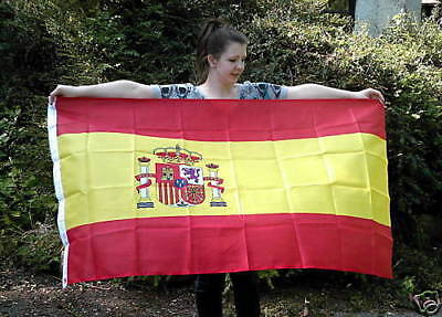 NEW 5 x 3 FOOT (150x90cm) SPANISH SPAIN ESPANA FLAG WITH COAT OF ARMS / CREST