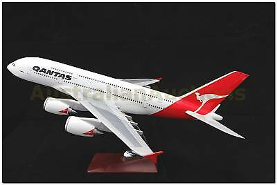 QANTAS AIRBUS A380  LARGE PLANE MODEL 1:150 WITH STAND APX 45cm SOLID RESIN