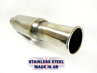"New Bomb Exhaust Pipe Bullet Silencer Box with 3"" Round Tailpipe Tip 2.25 Inlet"