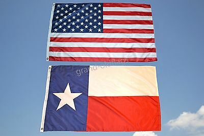 LOT 3' X 5' U.S. AMERICAN & US TEXAS STATE FLAG 3X5