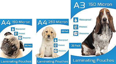A3, A4 & A5 Laminating Pouches 150 and 250 micron thickness