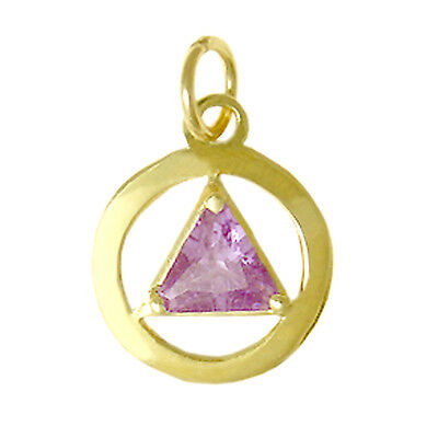 AA Alcoholics Anonymous #278-2, 14K Gold Pendant Choice of 12 Birthstones