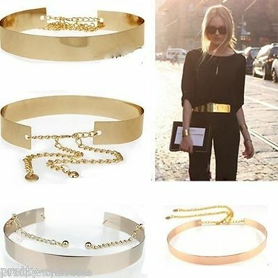 Ladies Full Metal Mirror Waist Belt Metallic Plated Band With Chains Waistband