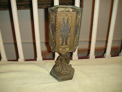 Vintage Art Deco Bronze Metal Table Lamp-Frosted Glass Panes-6 Sided-Detailed