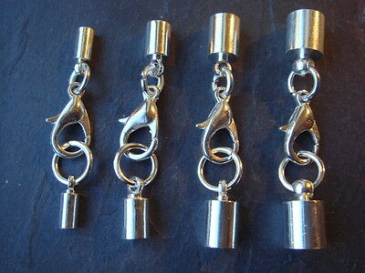 Silver plated leather cord kumihimo end cap sets tips lobster clasp 2 3 4 & 5mm