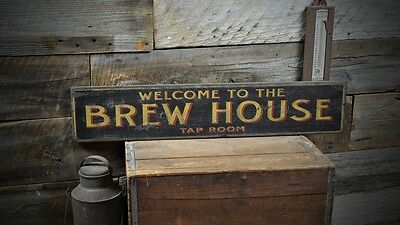 Welcome to the Brew House Sign - Rustic Hand Made Vintage Wooden Sign ENS1000418