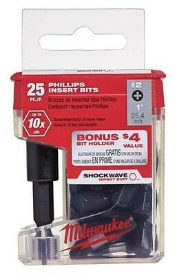 Milwaukee 48-32-5009 #2 Phillips Shockwave 1 in. Insert Bits W/ Bit Holder 25 pk