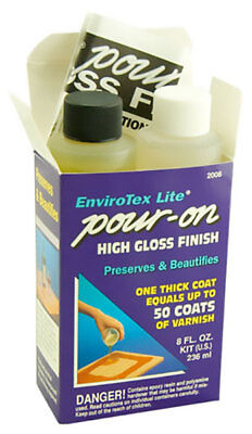 Envirotex Lite Pour On Resin High Gloss Waterproof Finish 8oz 236ml ETI 2008