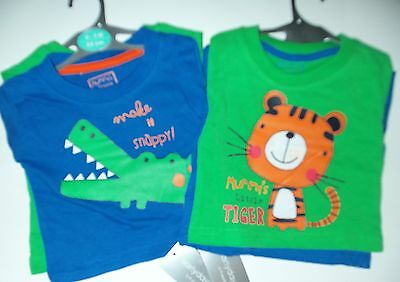 Baby Boys 2 Pack Long Sleeved Tops in Grey/Blue or Green/Blue
