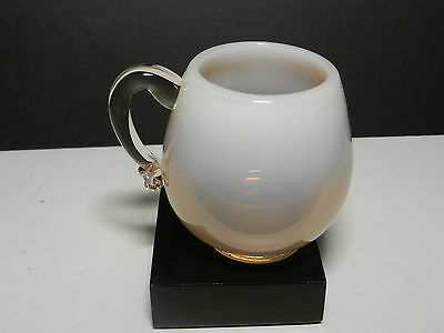 """Art Glass Punch Cup Peach Opalescent Applied Handle 3 3/8"""" T capacity 8 oz"""