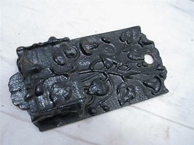 Antique Cast Iron Match Safe Holder Art Nouveau Ivy Ornate Fireplace Tool Keeper