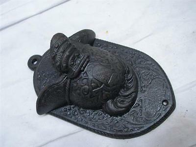 Early Cast Iron Match Safe Holder Roman Helmet Ornate Fireplace Tool Keeper