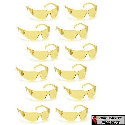 (12 Pair) Pyramex Intruder Amber Lens Safety Glasses Shooting Range S4130S Z87+
