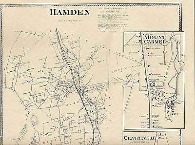 Hamden Mount Carmel Centerville Whitney CT 1868 Map with Homeowners Names Shown