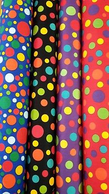 PATCHWORK FABRIC NEW Spot Polka Dot Cotton Dressmaking Quilting Material Sew