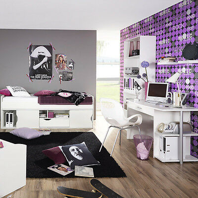 komplett jugendzimmer wei grau schreibtisch. Black Bedroom Furniture Sets. Home Design Ideas