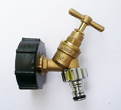 "IBC Tank Cap  with Brass Tap & 1/2"" Nickle Plates Brass Snap On Connector,"