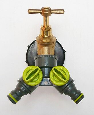 "IBC Tank Cap  with Brass Tap & 1/2"" TWIN Tap Snap On Connector, Water Butt,"
