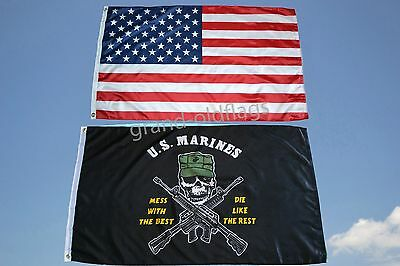 LOT 3' X 5' U.S.  AMERICAN & US  MARINE CORPS MESS WITH THE BEST  FLAG 3X5