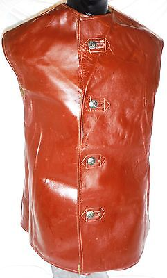 British Army Style Belgin Leather Jerkin, Size 2, brass buttons
