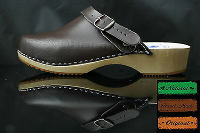 size 8 UK / 42 EU Men's wooden clogs, swedish , Brown  leather